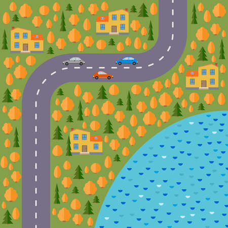 Plan of village. Landscape with the road, forest, lake, cars and houses in the autumn.  Vector illustration