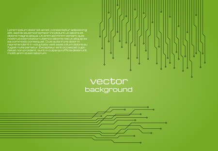 Abstract technological green background with elements of the microchip. Circuit board background texture. Vector illustration.