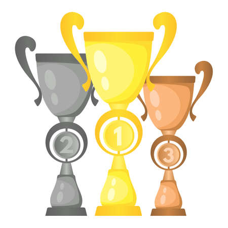 Set of vector trophy champion cups in gold, silver and bronze. Championship prizes for first, second and third place. Victory symbols isolated on white background.