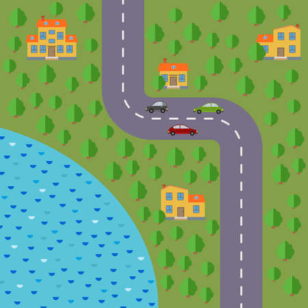 Plan of village. Landscape with the road, forest, lake, cars and houses. Vector illustration Illustration