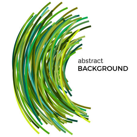 Abstract background with green colorful curved lines in a chaotic order. Colored lines with place for your text on a white background. Illustration