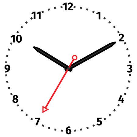 Illustrazione vettoriale di orologio meccanico. Fronte di orologio su sfondo bianco.