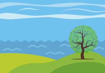 Vector panoramic cartoon landscape with the lonely tree against the see.