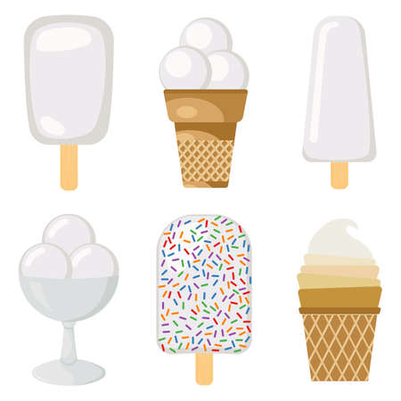 Set of vector illustration of creamy ice cream.