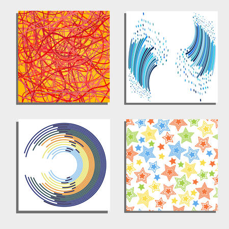 cable tangle: Set of four beautiful abstract backgrounds. Vector illustration.