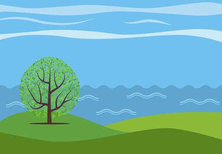 Vector panoramische Karikaturlandschaft mit dem einsamen Baum gegen das sehen. Standard-Bild - 81770012