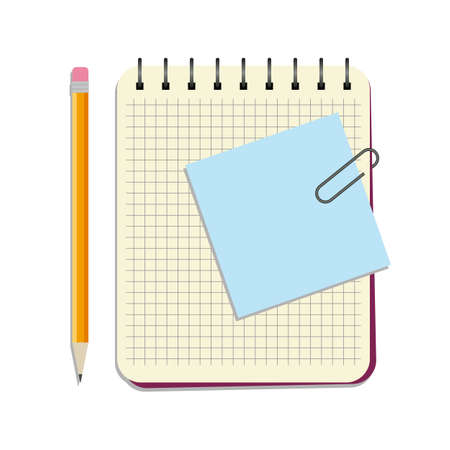 Notebook with blue notice paper and yellow pencil on a white background Illustration