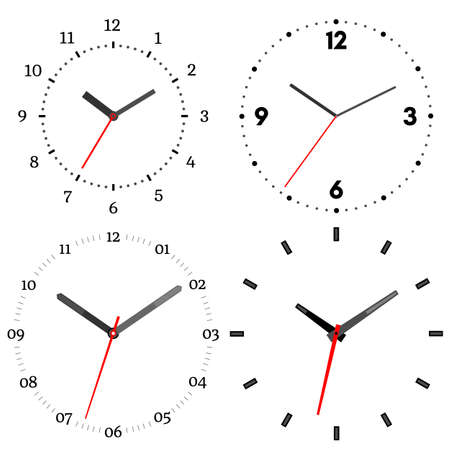 Set Of Twenty Mechanical Clocks. Clock Face On White Background ...