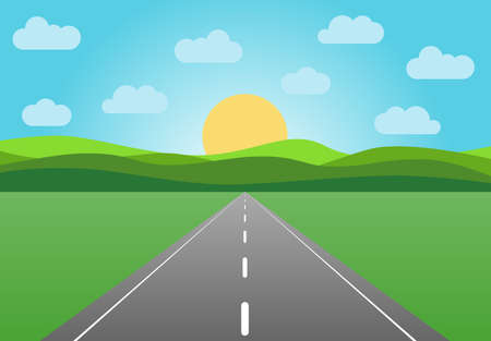 Vector die Asphaltstraße, die in den Horizont verlässt. Sommerlandschaft mit einem blauen Himmel. Vektorgrafik