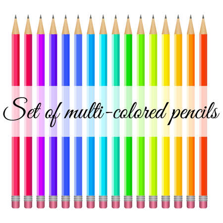 Set of multi-colored pencils with trowels on a white background Illustration