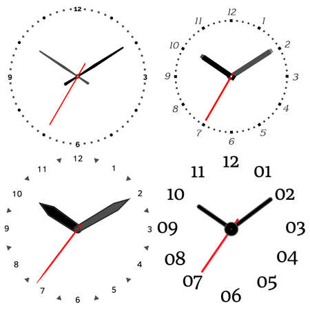 Vector Illustration Of Mechanical Clock. Clock Face On White ...