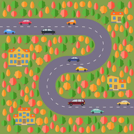 Plan of village. Landscape with the road, autumn forest, cars and houses. Vector illustration