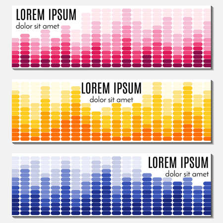 website header: Set of colorful abstract header banners with equalizers and place for text. Vector backgrounds for web design.