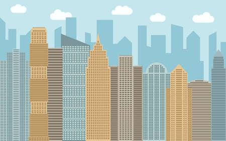real estate house: Vector urban landscape illustration. Street view with cityscape, skyscrapers and modern buildings at sunny day. City space in flat style background concept.