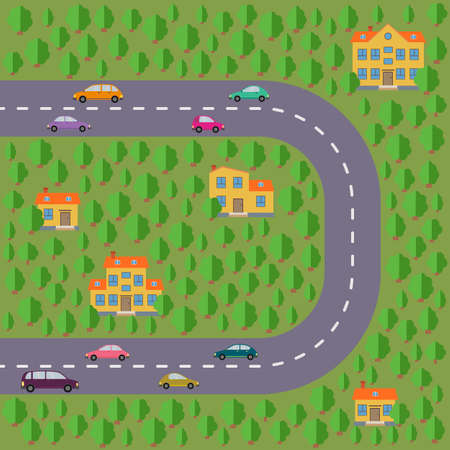 Plan of village. Landscape with the road, green forest, cars and houses. Vector illustration