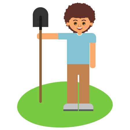 Boy with a shovel on green grass. Illustration