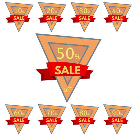 Set of discount stickers. Triangular orange badges with red ribbon for sale 10 - 90 percent off. Vector illustration. Illustration