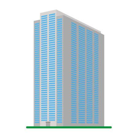 モダンな高層の建物が白い背景の上。下からの建物の眺め。等尺性のベクトル図です。
