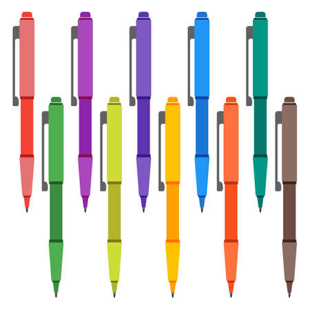 ballpen: Set of multi-colored pens on a white background. Vector illustration. Illustration