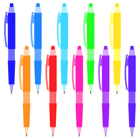 Set of multi-colored pens on a white background. Vector illustration. Illustration