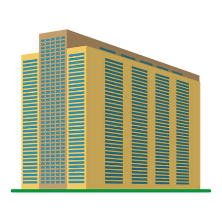 office building: A modern high-rise building on a white background. View of the building from the bottom. Isometric vector illustration. Illustration