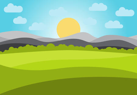 Vector landscape with field and mountains. Early morning with the rising of the sun on the horizon. Vector illustration.
