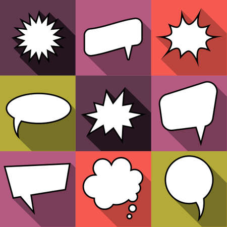 Set of nine cartoon comic balloon speech bubbles in flat style.