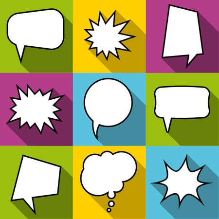 Set of nine cartoon comic balloon speech bubbles in flat style. Elements of design. Vector illustration