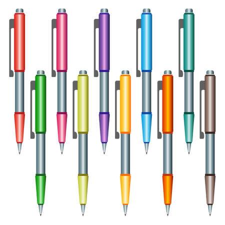 Set of multi-colored pens illustration. Illustration
