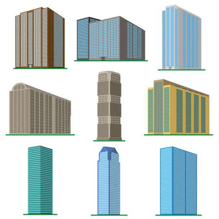 白い背景に9つの近代的な高層ビルのセット。建物の下からの眺め。アイソメベクトルイラスト。