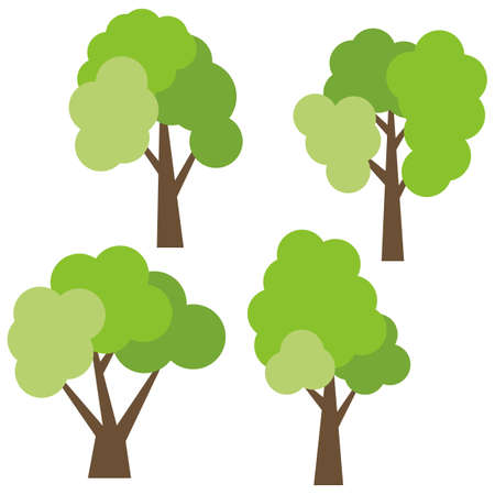 Set of four different cartoon green trees isolated on white background. Vector illustration.
