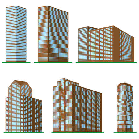 Set of six modern high-rise building on a white background. Illustration
