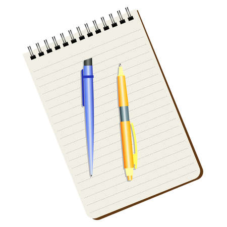 Notebook, blue pen and yellow pen on a white background. Illustration