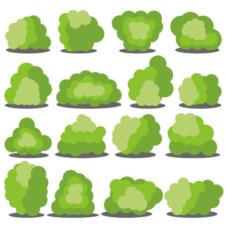 Set of sixteen different cartoon green bushes