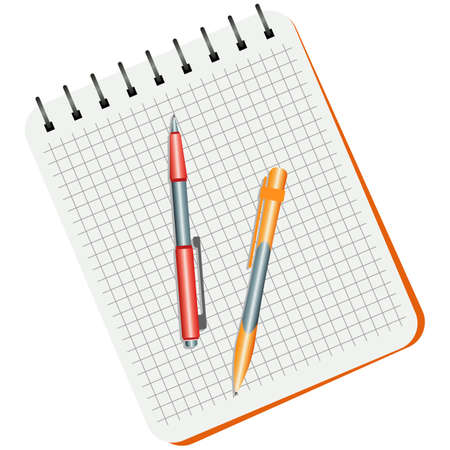 Notebook, red pen and yellow pen