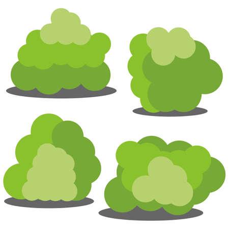 Set van vier verschillende cartoon groene struiken