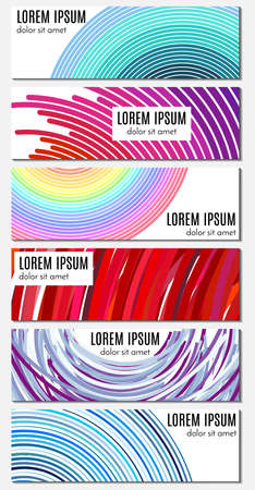 rectangle: Set of six colorful abstract header banners