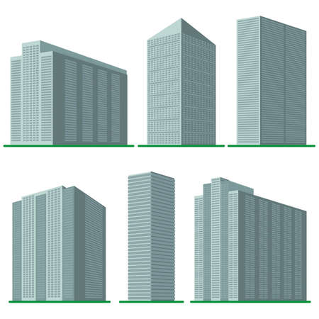 high: Set of six  modern high-rise building Illustration