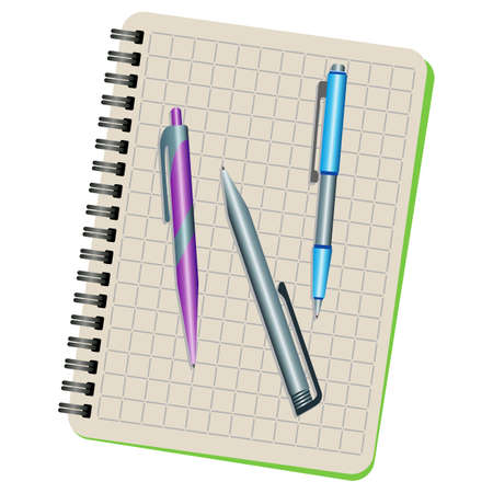 Notebook and three pens