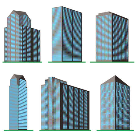 city building: Set of six  modern high-rise building on a white background. View of the building from the bottom. Isometric vector illustration.