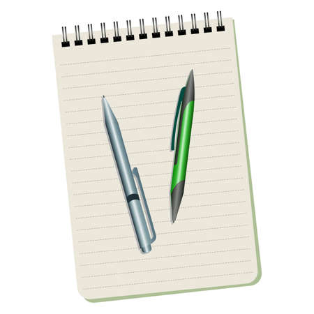 Notebook  and two pens on a white background