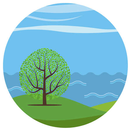Vector landscape with a lonely tree on the background of the sea in a circle. Illustration