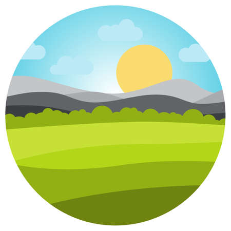 Vector landscape with field and mountains in circle. . Early morning with the rising of the sun on the horizon. Vector illustration.