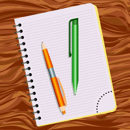 Notebook, orange pen and green pen on a wooden table Illustration