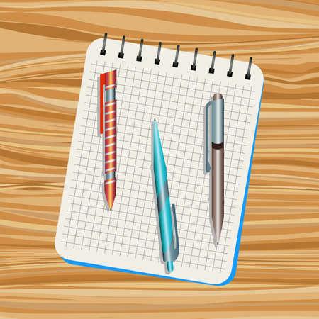 Notebook, orange  pen, blue pen and brown pen on a wooden table Illustration