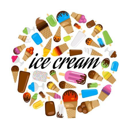 Set of colorful ice cream in circle.