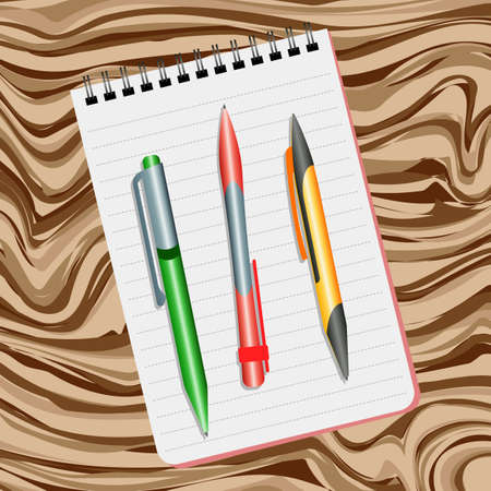 Notebook, green pen, red pen and yellow pen on a wooden table Illustration