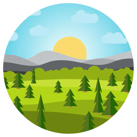 Vector landscape with field and trees. Early morning with the rising of the sun on the horizon. Vector illustration.