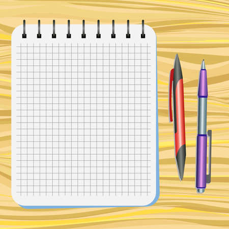 Notebook, red pen and purple pen on a wooden table Illustration