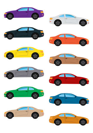 Set of multicolored car. Isolated vector illustration. Illustration